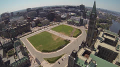 Canadian Parliament Hill Ottawa Aerial Stock Footage