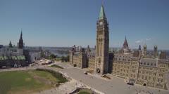 Canadian Parliament Hill Ottawa Aerial Stock Footage