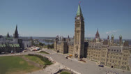 Stock Video Footage of Canadian Parliament Hill Ottawa Aerial