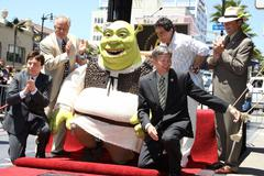 Stock Photo of shrek honoured with the 2408th star on the hollywood walk of fame.