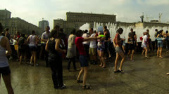 A crowd of people drenched in water Stock Footage