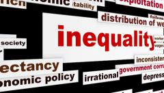 Inequality business words design - stock footage