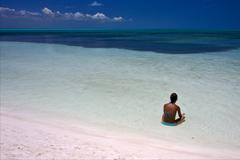 relax and coastline in the caraibbien  lagoon - stock photo