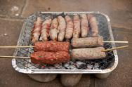 Stock Photo of bbq barbecue kebab sausage disposable