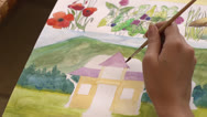Painting pictures, making drawings Stock Footage