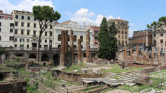 Torre Argentina ruins in Rome Stock Footage