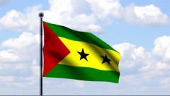 Animated Flag of Sao Tome and Principe Stock Footage