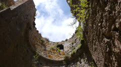 Tower ruins of a Cathars castle Stock Footage
