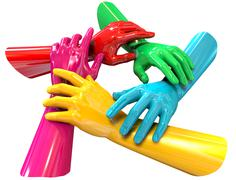 Hands colorful circle holding each other top Stock Illustration