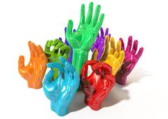 Hands colorful reaching skyward Stock Illustration