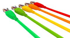 Ethernet cables unplugged colors pointing away close Stock Illustration
