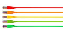 ethernet cables unplugged colors pointing forward left - stock illustration