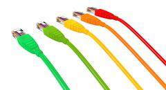 Ethernet cables unplugged colors pointing away Stock Illustration