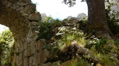 Ruins of an old Cathars fortress Stock Footage