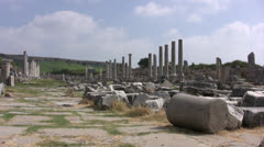 Standing columns at Perge in Turkey Stock Footage