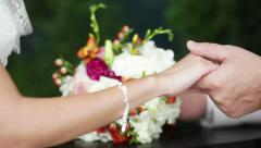 Giving a wedding bouquet - stock footage