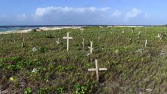 Graves by the Sea Stock Footage