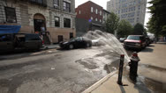 Stock Video Footage of NYC STREET - WATER SPRINKLES