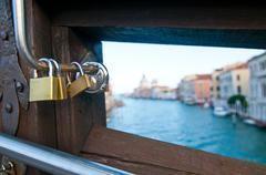 venice italy love lockers on accademia bridge - stock photo