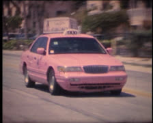 Super 8 USA pink taxi in Key West Stock Footage