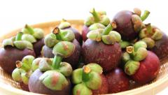 Close-up mangosteens on the basket Stock Footage