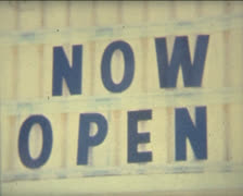 Super 8 USA now open sign Stock Footage
