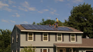 Stock Video Footage of Solar panel installation wide shot