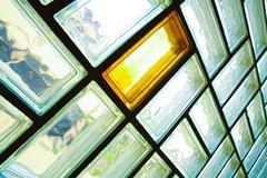 glass brick wall - stock photo