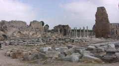 General view of ruins at Perge in Turkey Stock Footage