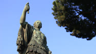Stock Video Footage of Caesar statue (dolly 4) in Rome