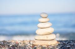 zen white stones - stock photo