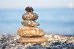 zen dark stones - stock photo