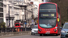 Red Bus to Victoria station Stock Footage