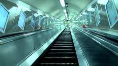 Underground escalator - stock footage