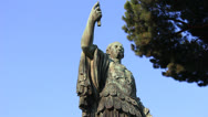 Stock Video Footage of Caesar statue (dolly 5) in Rome
