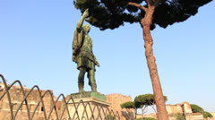 Caesar statue (dolly 6) in Rome Stock Footage