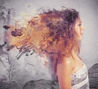creative hairstyle concept with motion effect - stock illustration