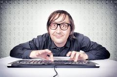 funny hacker - stock photo