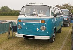 vw camper van, car boot site. - stock photo