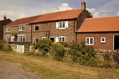 Old cottages with colourfull flowers Stock Photos