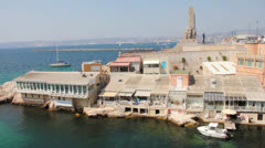 Vallon des Auffes and the war memorial, Marseilles, France Stock Footage