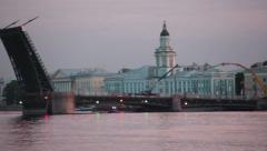 Vasilevsky island camera review with opened Palace Bridge, St. Petersburg Stock Footage