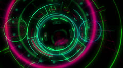 Stock Video Footage of abstract neon head up display HUD VJ loop
