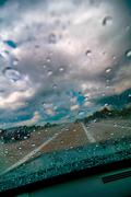 Raindrops on the windshield Stock Photos