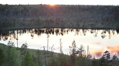 White nights in Karelia. Small unnamed lake - stock footage