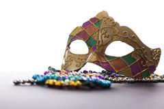 Mardi Gras peite ja helmiä Kuvituskuvat