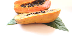 Close-up to half cutting papaya fruit Stock Footage