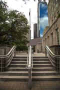 Stairs to flagpole - stock photo