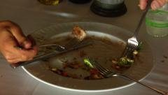 Sharing Plate of Food at Restaurant Stock Footage