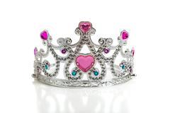 A child's toy princess tiara on a white background Stock Photos